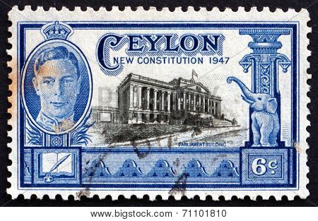 Postage Stamp Sri Lanka 1947 Parliament Building, Colombo