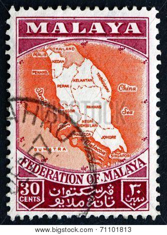 Postage Stamp Malaya 1957 Map Of Federation Of Malaya