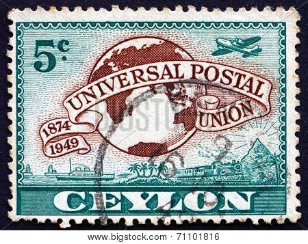 Postage Stamp Sri Lanka 1949 Lion Rock And Upu Symbols
