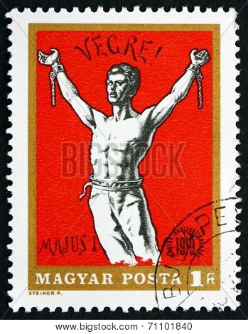 Postage Stamp Hungary 1969 Man Breaking Chains, Revolutionary Po