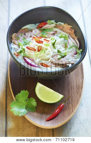 Vietnamese food, rice noodle soup with sliced beef