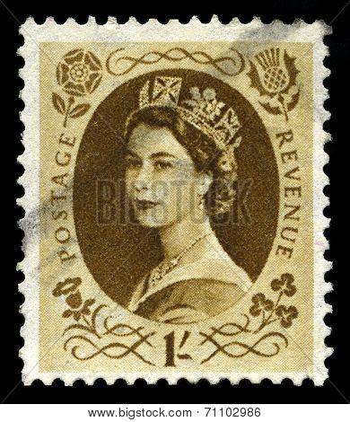 Vintage Queen Elizabeth Postage Stamp