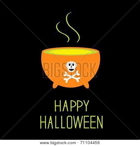 Cauldron With Green Potion. Happy Halloween Card.