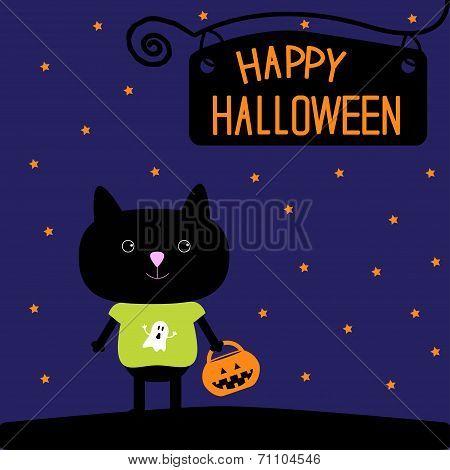 Black Cat With Halloween Trick Or Treat Pumpkin Bucket