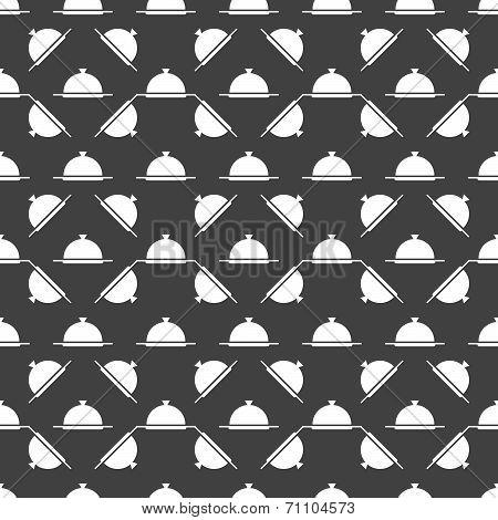 Restaurant cloche web icon. flat design. Seamless gray pattern.