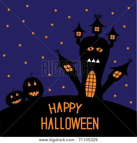 Haunted House And Pumpkins. Starry Night. Halloween Card.