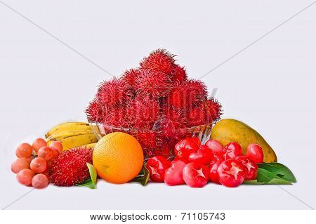 Assortment Of Fruits Isolated On White Background