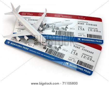 Boarding pass. Tickets and airplane on white isolated background. 3d