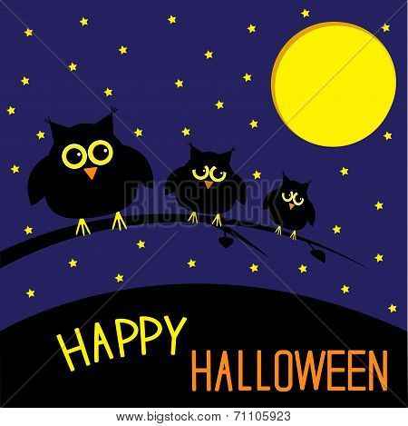 Three Cute Owls. Starry Night And Moon. Happy Halloween Card.