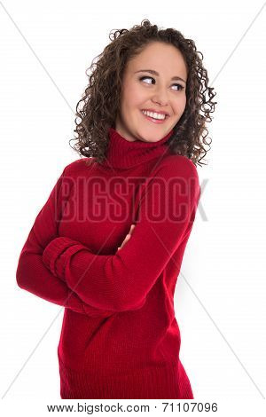 Happy Isolated Young Woman In Red Pullover Looking Sideways To Text.