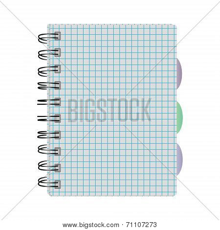 Notebook Into A Cell On The Springs With Colored Tabs