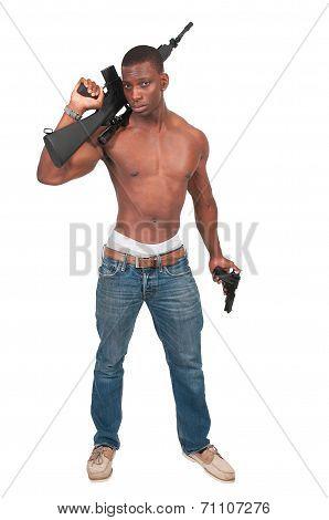 Man With Assault Rifle And Handgun