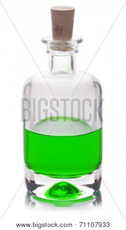 Poison in a glass flask isolated on a white background