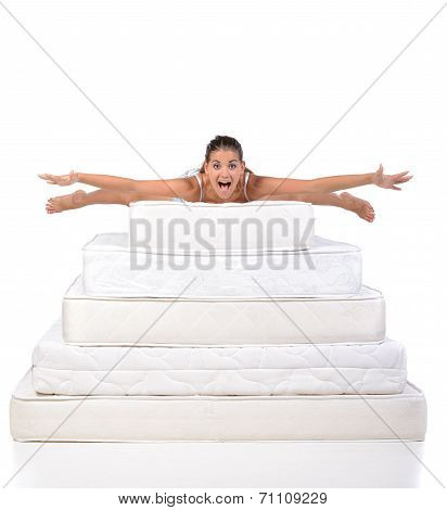 Woman And Mattress