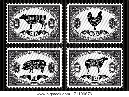 Set Of  Postage Stamps With Pets