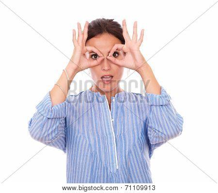 Charismatic Latin Female With Binoculars Hands