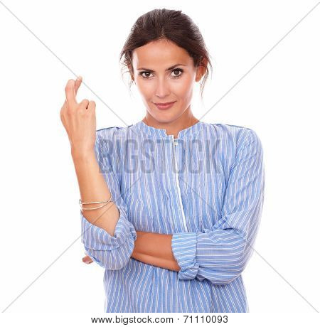 Lovely Latin Woman Crossing Her Fingers