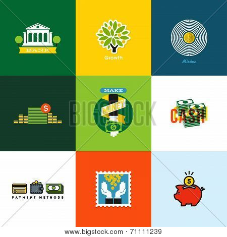 Flat Vector Money Concepts. Creative Icons Of Wallet, Banking, Cash, Growth, Piggy Bank, Coins