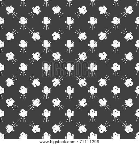 Videocamera web icon. flat design. Seamless gray pattern.