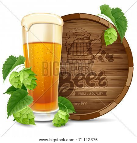 Glass of beer, barrel and hops isolated on white background