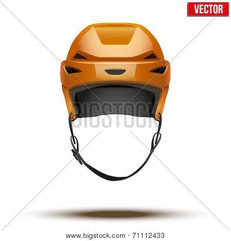 Classic orange Hockey Helmet isolated on Background. Vector.