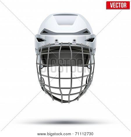 Classic white Goalkeeper Hockey Helmet isolated on Background. Vector.