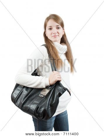 Long-haired  Girl With Bag  Over White
