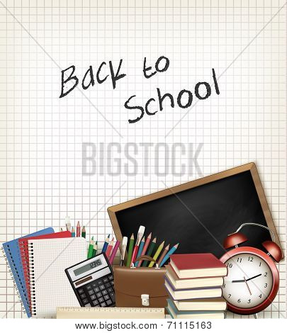 Back to school. Education background with school supplies. Vector.
