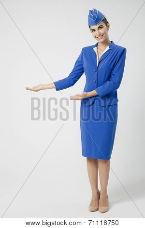 Charming Stewardess Dressed In Blue Uniform