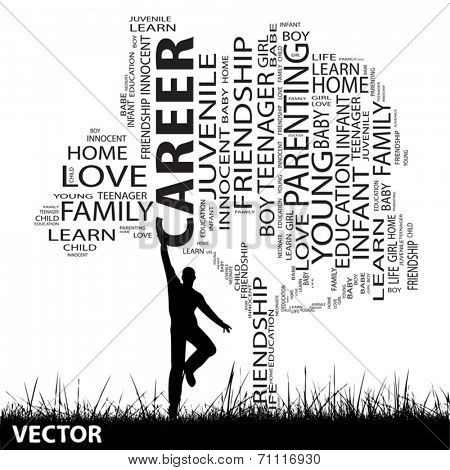 Vector concept or conceptual black education text word cloud or tagcloud as tree and grass, a man jumping, isolated on white background