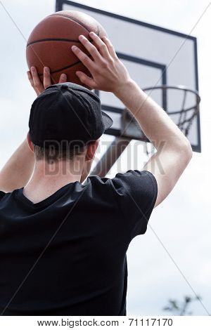Male Aiming Basketball At Hoop
