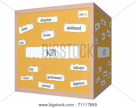 Kpi 3D Cube Corkboard Word Concept