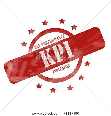 Red Weathered Kpi Stamp Circle And Stars Design