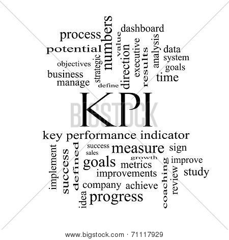 Kpi Word Cloud Concept In Black And White