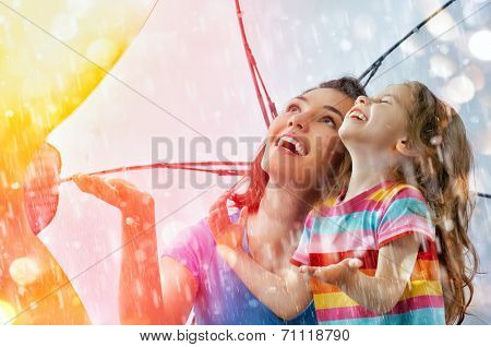 the family enjoys the rain