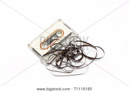 Broken Audio Cassette With Label Isolated On White Background.
