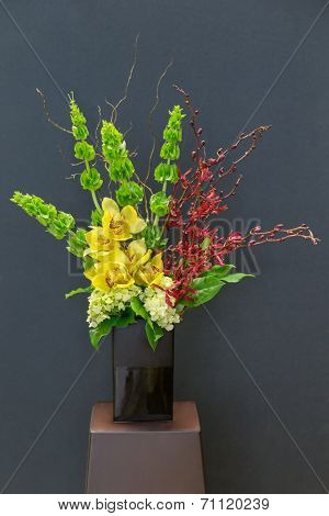 Floral Arangement With Cymbidium, Hydrangea, Orchid And Moluccel