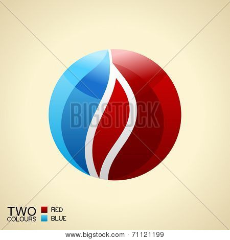 Vector logo symbol fire. Red and blue Round glass icon isolated