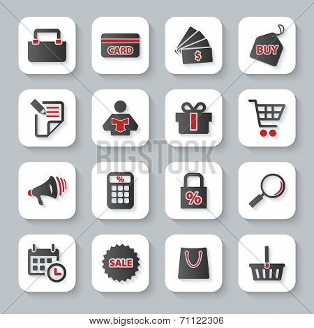 Set Of Flat Modern Shopping Web Icons