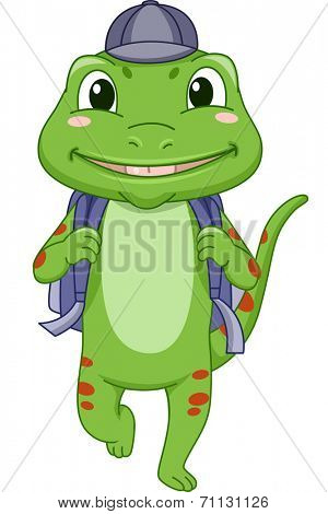 Illustration Featuring a Gecko Dressed for School