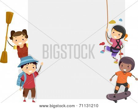 Board Illustration Featuring Kids Dressed in Different Sports Attires