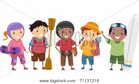 Illustration of Kids Wearing Different Sports Gear