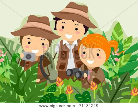Illustration Featuring Kids on a Safari Adventure