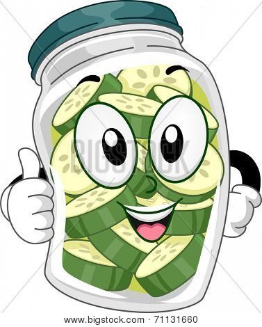Mascot Illustration Featuring a Pickle Jar Doing a Thumbs Up