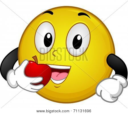 Illustration of a Smiley Eating an Apple