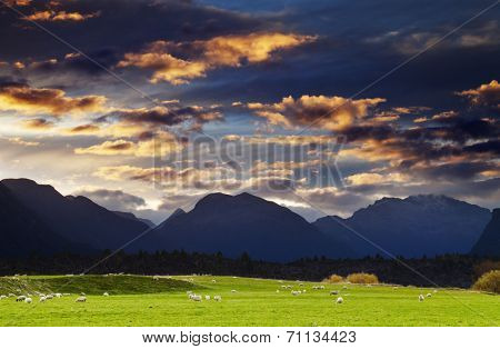 Mountain landscape at sunset, Southland, New Zealand