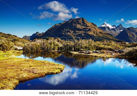Small lake at the Key Summit, Routeburn track, New Zealand