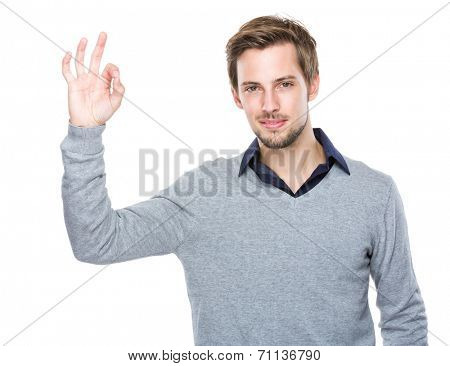 Caucasian man hand with ok sign