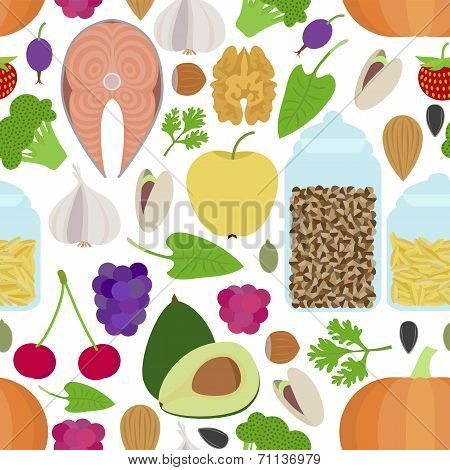 Seamless Healthy Food Pattern On White Background