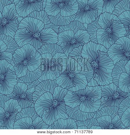 Seamless Blue Pansy Pattern